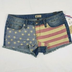 YMI American Flag Jean Short Shorts Frayed USA
